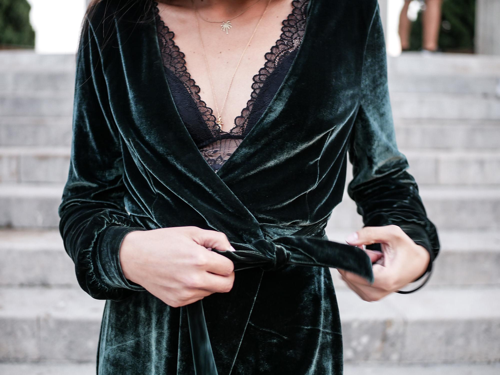 Green Velvet Dress Robe Velours Zara